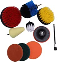 TOPBATHY 10pcs Household Cleaning Brushes Electric Drill Brush Scrubber Cleaning Brush Pad for Cleaning Carpet Glass Car Win