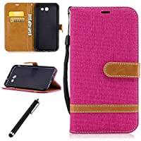 Leather Case for Samsung Galaxy J7 2017-Beddouuk Luxury Denim Pattern Design PU Leather Flip Wallet Case with [Card Slots][Kickstand][Magnetic Closure],Bookstyle Full Protection Folio Cover Case With Hand Strap for Samsung Galaxy J7 2017-Pink