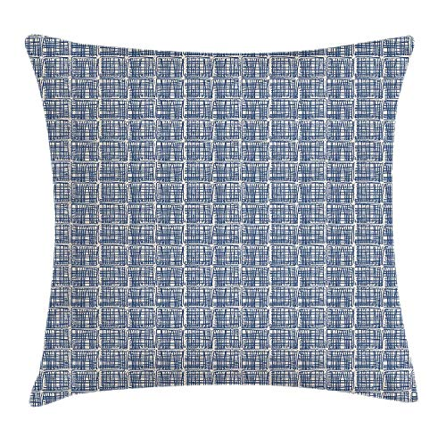 Tie Dye Throw Pillow Cushion Cover, Squares with Stripes in Hand Drawn Style Hippie Geometrical Grid Tile, Decorative Square Accent Pillow Case, 18 X 18 inches, Navy Blue and Cream - Cotton Candy Tie Dye