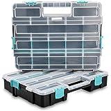 Navaris organizador de tornillos - Caja de almacenaje de plástico para bricolaje - Compartimentos de diferentes tamaños para