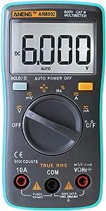 AN8002 digitale LCD Multimetro Portatile Misuratore 6000 conta con retroilluminazione AC//DC AM