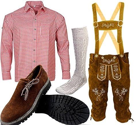 B 1 Trachtenset (Hose +Hemd +Schuhe +Socken ) Bayerische Lederhose Trachtenhose Oktoberfest Leder Hose Trachten (Hose 56 Hemd (Tracht Oktoberfest)