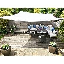 Clara Shade Sails - Tenda parasole da giardino/veranda Premium Sun, 98% protezione UV, impermeabile, quadrata, 3,6 m, bianco puro - Quadrato - bianco