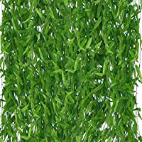 Artificial Vines Greenery Garland (50 Pcs) 180 cm (5.9 Feet each Vine) Faux Silk Willow Rattan Wicker Twig Fake Vine Green Leaves Decorations for Wedding, Festivals, Windows, Balcony, Courtyard