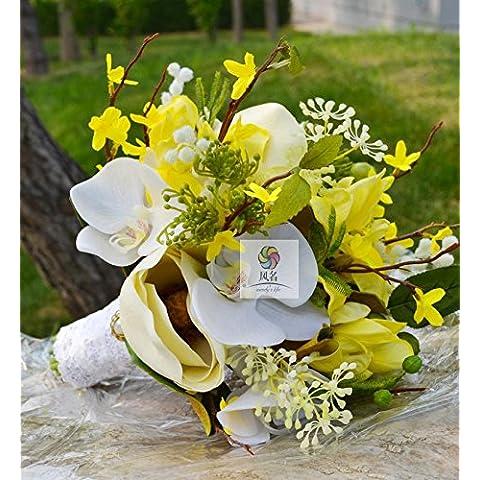 Yxhflo Flores artificiales Flor De Emulación Boda Flor Novia Arte Pu Magnolia Flores De Iris Gaenari