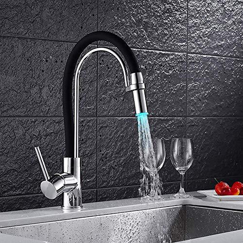 LIANYANG Wasserhahn LED Kitchen Black 360 °; Schwenkbare Küchen-Spüle mit hohem Auslauf Hochdruckarmaturen Wasserfall Einhebel-Mischbatterie für Küchenspüle, A
