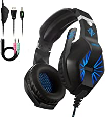 Gaming Headset für PS4 Xbox One PC, Gaming Kopfhörer Surround Sound Headset mit Mikrofon Speaker blaue LED Lichteffekt Spielkopfhörer & 1-2 Transfer Kabel für Computer Laptop Mac Nintendo Switch Spiele