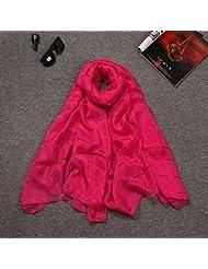 Otoño y primavera y verano Aire acondicionado Color Chiffon de seda Cape nuevo Super femenina Toalla de playa Bufanda Bufanda Sunscreen,Rosa roja