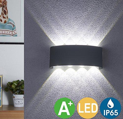 Preisvergleich Produktbild LED Wandleuchte Innen Warmweiß,  LED Wandlampe Außen 8W Wasserdicht IP65 Modern Up Down Leuchte Wandlicht aus Aluminium Wandbeleuchtung für Bad Flur Kinderzimmer Treppenhaus Wohnzimmer Schlafzimmer, Oberfläche:Schwarz, Lichtfarbe:Weiß
