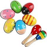 6 Oeufs Maracas en Bois et 2 marteau à sable en bois, jouets d'instruments de musique à percussion en bois Jouets d'éveil pou