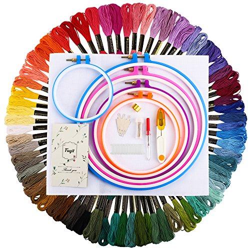 rter Kit Stickpackung mit Kreuzstichwerkzeug 72 Farben Stickgarn, 5 Stück Kunststoff-Stickrahmen, 45 x 30 cm, 14 Stück Classic Reserve Aida ()