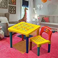 Popamazing Kids Children Furniture Alphabet Learn & Play ABC Table + Chair Set Educational Present