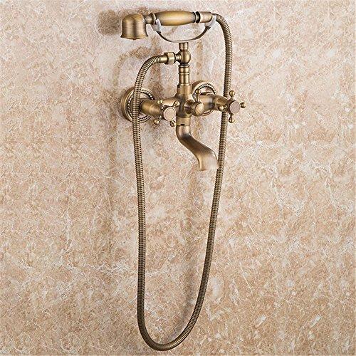 NIHE Ensemble de douche en laiton antique en laiton Robinet pour baignoire double pomme murale + douche à main Douchette pour téléphone Ensemble de robinetterie