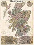 MAP ANTIQUE BACON SCOTLAND GLASGOW EDINBURGH LARGE REPLICA