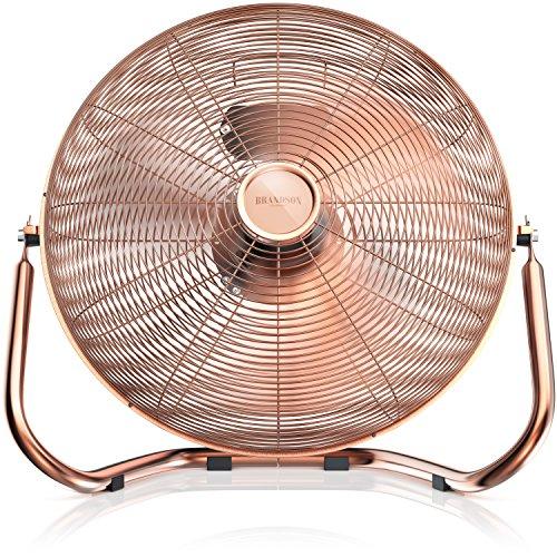 Brandson - Retro Windmaschine / Ventilator im Kupfer-Design (Retro-Stil) | Standventilator 50cm | Leistungsaufnahme 120W | hoher Luftdurchsatz | Bodenventilator (Retro-ventilator)