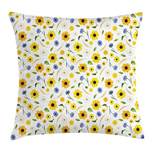 BHWYK Yellow and White Throw Pillow Cushion Cover, Botanical Arrangement of Summer Flowers Wheat Daisy Blossoming Nature, Decorative Square Accent Pillow Case, 18 X 18 inches, Multicolor -