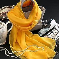 YRXDD Kurkuma Gelb Farbe Seide Präsident Dos Santos Seide Schals Schal lange warm-ups.