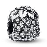 Charm-Anhänger Kürbiskutsche, klare Zirkoniasteine, 925er-Sterlingsilber, passt an Pandora-Armbänder