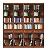 Bücherregal 2 m aus Massivholz, Bücherregal-Wand mit Einlegeböden und Schubfächer, Möbel klassischer-moderner Stil, Einfacher Aufbau, B200xT36,5xH220 cm
