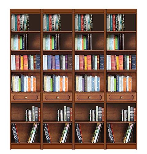 Bücherregal 2 m aus Massivholz, Bücherregal-Wand mit Einlegeböden und Schubfächer, Möbel...