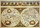 Acrylglasbild 130 x 90 cm: Erdkarte in Zwei Hemisphären mit Bildnis Papst Innozenz XI. und Reiterbildnissen europäischer Fürste von ARTOTHEK - Wandbild, Acryl Glasbild, Druck auf Acryl Glas Bild