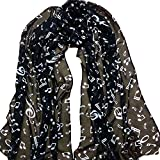 Wicemoon Long Chiffon Silk Scarf Music Symbol Pattern Sunscreen Ultra-thin Shawl Wrap Scarves(Black)
