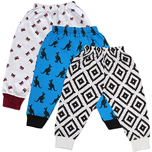 Tiddlee Baby Kids Clothes - for Girls and Boys - Children Combo set - Pack of 3 Printed Multicolour Pajama Pants / Legging / Pajami / Lower / Trouser / Pyjama with colored Rib - Soft & 100% hosiery cotton - Multi-color - Child Skin friendly, Durable & High Quality Coloured Clothing Apparel - (6-9 months)  available at amazon for Rs.299
