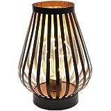 JHY DESIGN 22cm Lampe à cage en métal table LED Bureau à piles sans fil Lampe de chevet décorative avec ampoule Edison Balcon