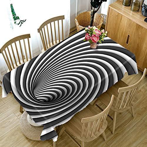 ischdecke Rechteckige Tischdecken Schwarz Und Weiß Gestreift Tischdecke Staubdicht Leinwand Tischabdeckung FüR Home, Black, 134cmx 183cm ()
