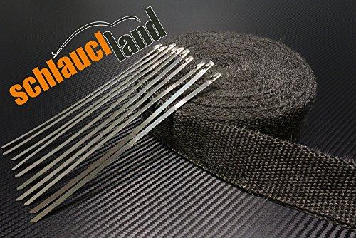 15m Hitzeschutzband schwarz 50mm 1000°C + 10 Kabelbinder SCHLAUCHLAND*** Auspuffband Thermoband Krümmerband Heat Wrap Basaltfaser Isolierband Hitzeschutz