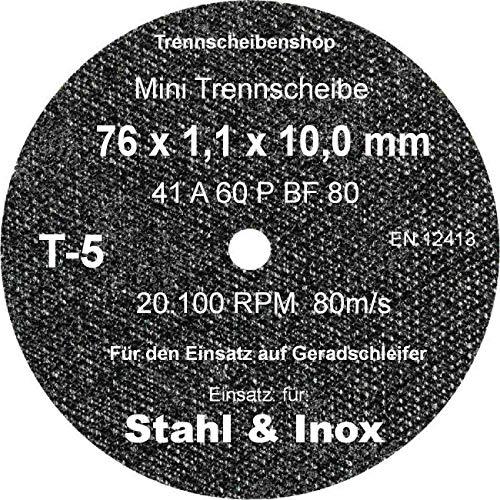 TTT-5_20 Stück. Trennscheibe, Ø 76 x 1,1 x 10,0 mm, Inox Edelstahl Eisen und sulfatfrei, Profi Scheibe, Super Premium.
