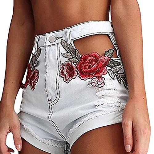 Outgobuy Frauen Weinlese Blumenstickerei hohe Taille schnitt beunruhigte Denim-Kurzschlüsse aus White