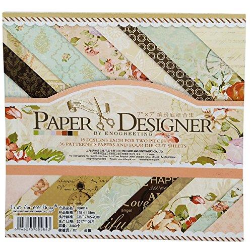 40 Blatt Scrapbooking Papier Gemustertes Karton Bastelpapier mit Vintage Design für DIY Handwerk Foto Hintergrund Deko 7x7 Zoll (014)
