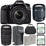 Canon EOS 80D DSLR Kamera mit 18–135mm Objektiv + Canon EF-S 18–55mm f/3.5–5.6IS STM Objektiv + Canon EF 75–300mm f/4–5.6III Objektiv + extra Akku + Ladegerät + 8GB + 16GB + Tragetasche Bundle 62