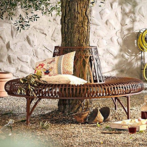 Gartenbank aus Metall komplette Baumbank rund Antik-Braun 148 x 74 x 78 cm - 2