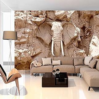 murando - Fototapete 350x256 cm - Vlies Tapete - Moderne Wanddeko - Design Tapete - Wandtapete - Wand Dekoration - Tiere Elefant Steine Stein Afrika Reise Textur g-B-0007-a-c