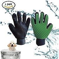Guante de aseo para mascotas, guantes de masaje, guantes de limpieza, guantes para mascotas, guantes para quitar el pelo para perros y gatos, guantes largo y corto, 1 par(Verde)