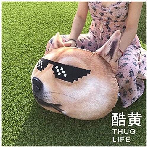 BAONZEN Große 3D Büro Akita Huskys Nickerchen Kissen Lendenkissen Freund Mosaik Sonnenbrille X kühlen Hundekopf, 50 * 60 cm, cool gelb