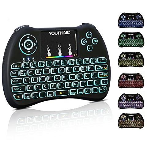 Mini Tastatur Beleuchtet Wireless Touchpad Maus 2.4GHz QWERTZ Deutsch Tastaturlayout 10M Reichweite Tastatur Fernbedienung für Smart TV HTPC IPTV Android TV Box XBOX360 PS3 PC Raspberry Pi