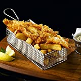 Stainless Steel Rectangular Fryer Serving Basket 21.5 x 10.5 x 6cm | Fish & Chip Basket, Food Presentation Basket