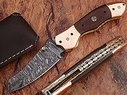 "CUSTOM MADE DAMASCUS STEEL 8"" FOLDING POCKET KNIFE WITH CANADIAN MICARTA WOOD & SOLID COPPER BOLSTER WITH MOSAIC PIN HANDLE(BDM-14)"