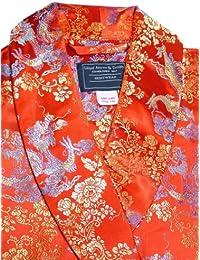 Lloyd Attree & Smith - Robe de Chambre en Viscose - Rouge/Or Dragon - Homme