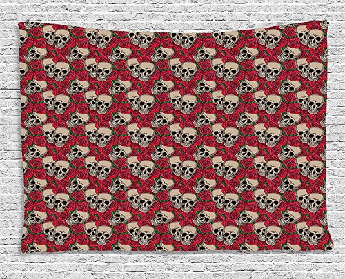MLNHY Rose Tapestry, Graphic Skulls and Red Rose Blossoms Halloween Inspired Retro Gothic Pattern, Wall Hanging for Bedroom Living Room Dorm, 80 W X 60 L Inches, Vermilion Tan Green