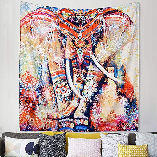 Dremisland Elefante Indio Gypsy Hippie Bohemio Mandala Tapiz Playa Tapestry bedspreads Tapices tapicería (L/200 * 150cm, Orange Elephant)