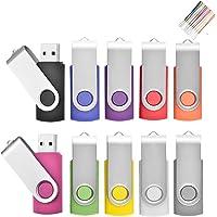 16 Go Lot de 10 Pivotant Clés USB 2.0 Stockage Carte Mémoire Flash Drive Rotation Stylo Lecteur avec Cordes (10 Couleurs) (16GB*10PCS)