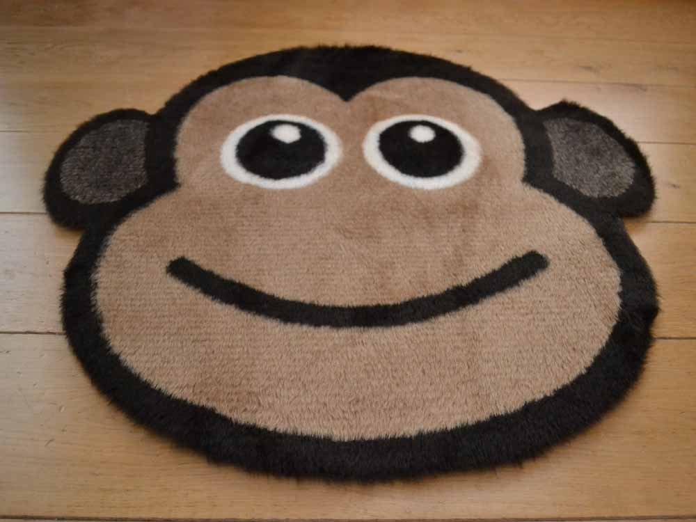Cheeky Monkey Non Slip Machine Washable Sheepskin Style Kids Rug