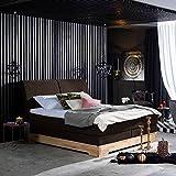 Pharao24 Amerikanisches Bett in Braun Kunstleder Kernbuche Massiv Breite 205 cm Liegefläche 200x200