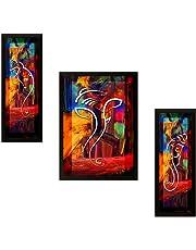 SAF Modern Art 'Ganesh' Framed Painting (Synthetic, 35 cm x 50 cm x 3 cm, Set of 3, UV Textured)