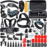 Leknes Action Camera Accessories for GoPro Hero 5 Hero 4 Hero 5 Session AKASO EK7000 AKASO EK5000 Xiaomi Yi Apeman Lightdow Rollei IceFox ODRVM and More, Sport Camera Bundle for Gopro Hero Accessory Set with Case