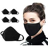 5 PCS Cotton Face Mask Cover Bandana Balaclavas, 2-Layer Unisex Reusable Fashion Washable face mask (Pack 5, Black) - UK SELL